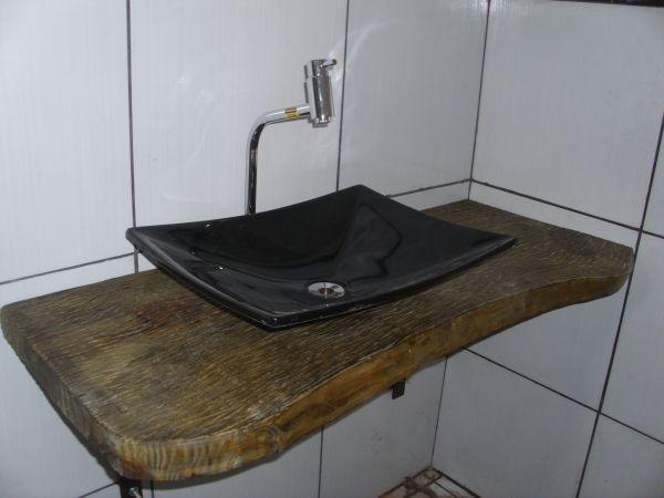 Bancada para pia  Rústicos Dirceu Silva -> Pia De Banheiro Em Madeira Rustica